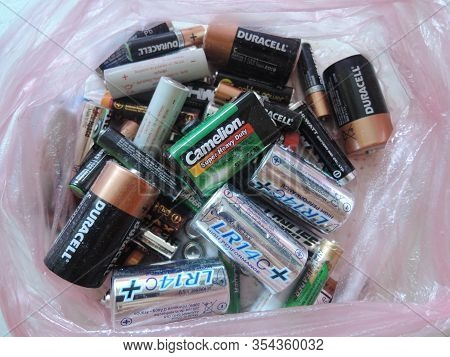 Russia, Saratov - January, 2017: Many Used Aa And Aaa Sized Batteries In A Pile.