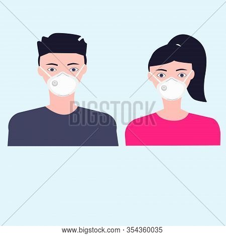 Woman And Man Wearing Breath Anti Dust Mask Pm2.5 For Protect Something That Cause Allergic Reaction