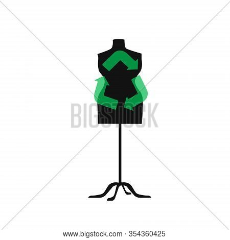 Sustainable Fashion. Sign For Recycling On A Mannequin In Flat. Concept For Sustainable Fashion, Slo