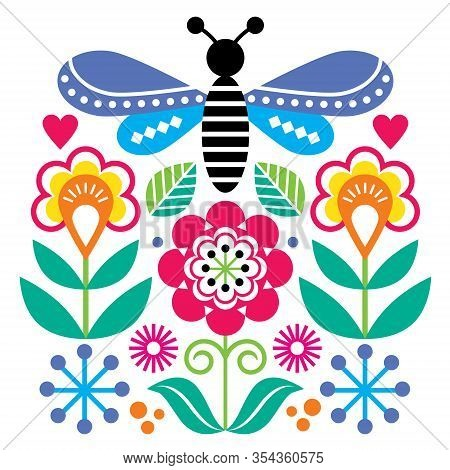 Scandinavian Folk Art Style Flowers And Insect Vector Design, Cute Graden Floral Pattern With Fly In