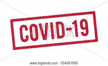 Vector illustration of the word Covid-19 (abbreviation of Coronavirus disease 2019) in red ink stamp
