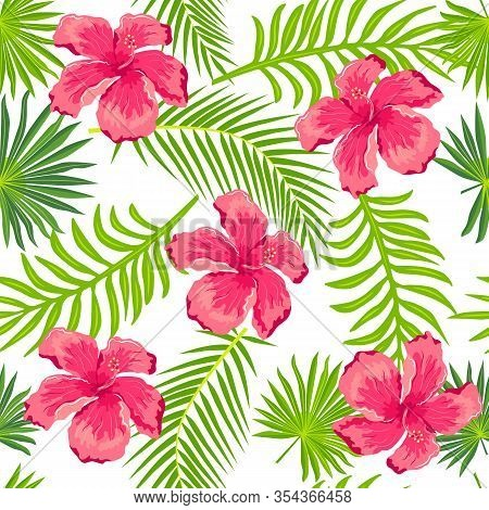 Seamless Pattern With Palm Leaves And Tropical Flower Hibiscus. Vector Illustration.