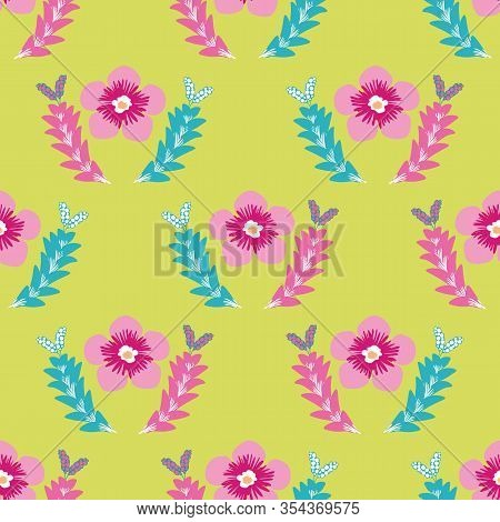 Tropical Flower Seamless Vector Pattern. Hand Drawn Stylised Pink Flowers And Leaves Geometric Backg