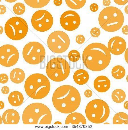Emoticon Seamless Pattern. Emotions Cartoon Emojis Background. Funny Cute Faces Cartoon Kid Vector W