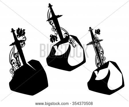 Excalibur Sword In The Stone Entwined With Rose Flowers Black And White Vector Design Set