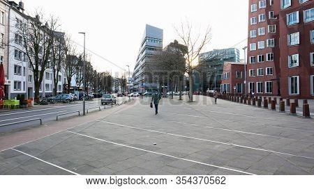 Dusseldorf, Germany - February 20, 2020: City And Shopping Streets Around Dusseldorf. Street Scenes