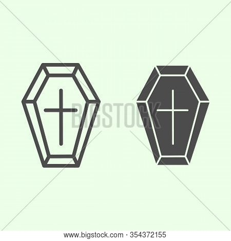 Coffin Line And Solid Icon. Funeral Wooden Casket With Cross Outline Style Pictogram On White Backgr