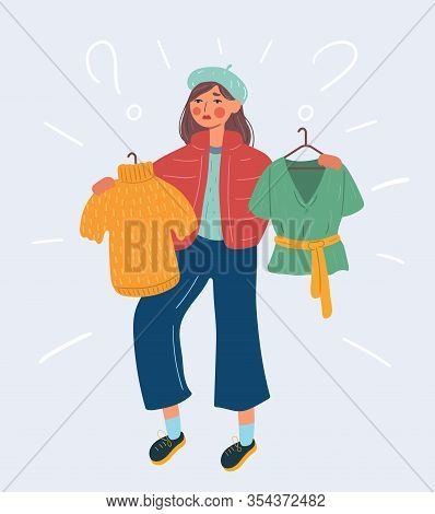 Fashionable Girl In Jacket And Beret Chooses His Clothes. Girl Chooses Green Blouse Or Yellow T-shir