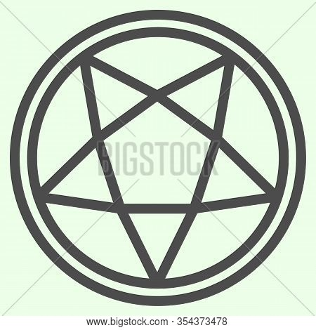 Pentagram Line Icon. Mystical Gothic Five Pointed Star In Circle Outline Style Pictogram On White Ba