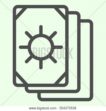 Tarot Cards Line Icon. Oracle Card Stack With Sun Circle Image Outline Style Pictogram On White Back