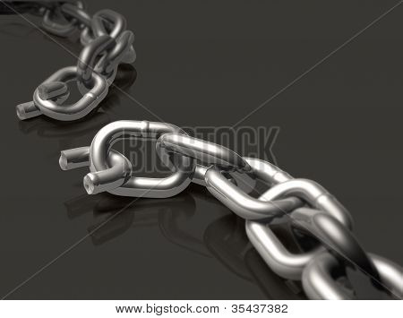 Broken chain with depth of field effect. poster