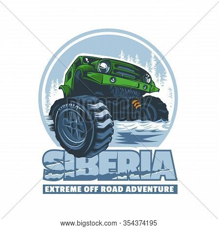 Off-road Vehicle Passing Difficult Obstacles In Siberia. Logo In Vector