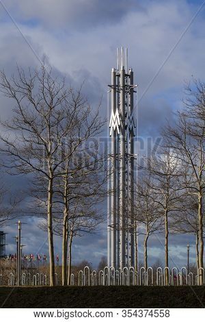 Leipzig,germany-february 19, 2020: Exhibition Centre Tower. The New Leipzig Trade Fair Was Built 199