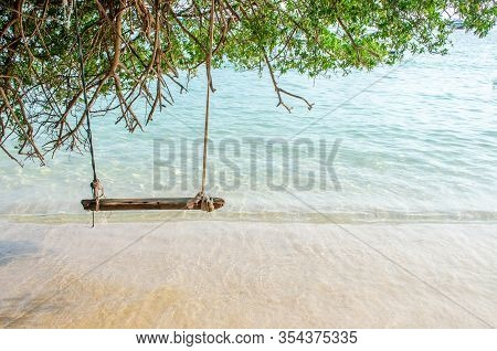 Swing On The White Sand Beach Of Koh Larn Island, Pattaya, Thailand