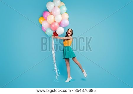 Full Body Photo Of Lovely Charming Girlish Candid Girl Enjoy Festive Occasion Celebration Hold Her B