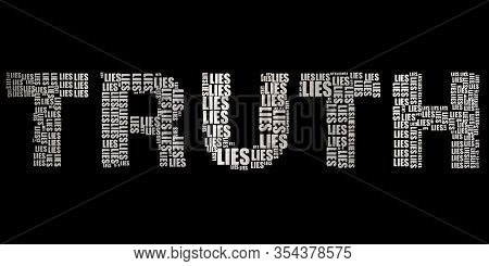 Truth Inside Lies Text Conceptual Metallic Silver Illustration