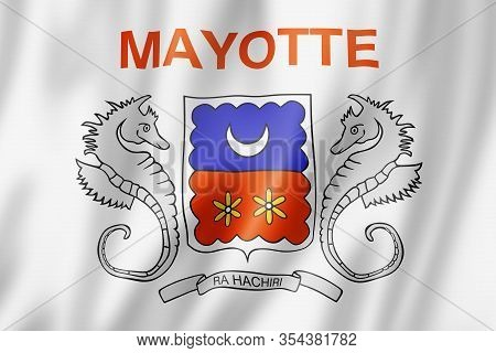 Mayotte Flag, Overseas Territories Of France. 3d Illustration