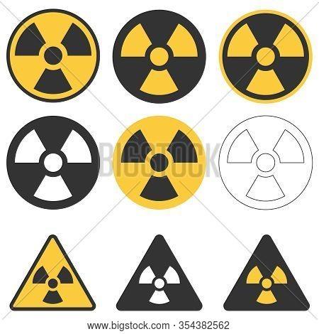 Radiation Sign. Large Set Of Radiation Signs. Vector Illustration Of Radiation Signs Isolated On Whi