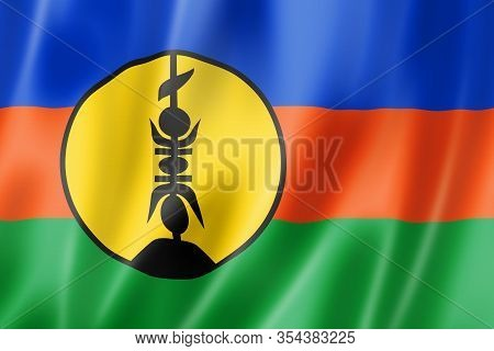 New Caledonia Flag, Overseas Territories Of France. 3d Illustration