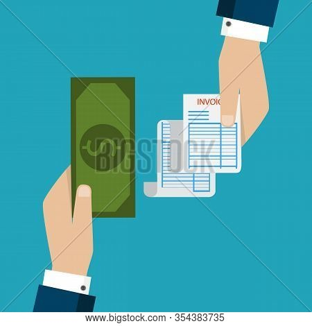 Receipt Icon, Flat Style Isolated On Background. Invoice Sign. Bill Atm, Financial Check.paper Recei