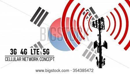 Cellular Mobile Network Tower Connection Concept For Republic Of Korea (south Korea), Vector Illustr