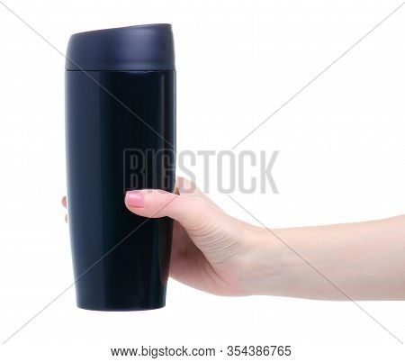 Black Thermos Cup On White Background Isolation