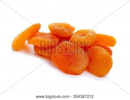 Dried Apricots Healthy Sweet Food On White Background Isolation