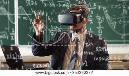 Portrait Of Bearded Teacher In Formal Attire Wearing Virtual Reality Headset And Using Hologram Scre