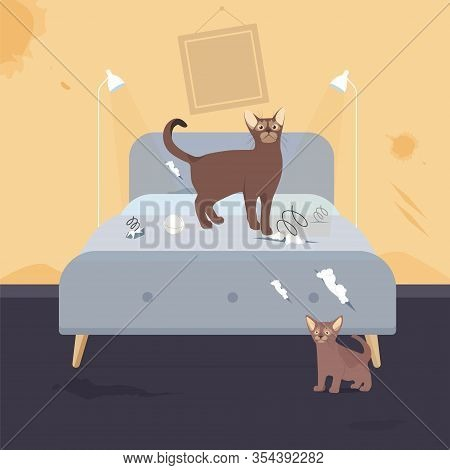 Home Pet Destroyer Lies On Bed With Torn Pillow, Urine Puddle, Holes, Cut Stuff, Spring From Mattres