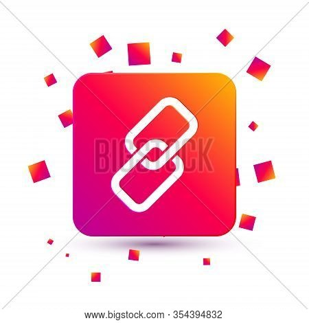 White Chain Link Icon Isolated On White Background. Link Single. Square Color Button. Vector Illustr
