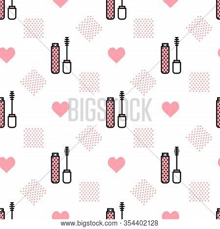 Vector Makeup Background With Mascara And Brush Staggered. Glamour Fashion Vogue Style. Design For T