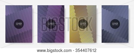 Zig Zag Lines Halftone Banner Templates Set, Vector Backgrounds For   Business Covers. Digital Zig Z