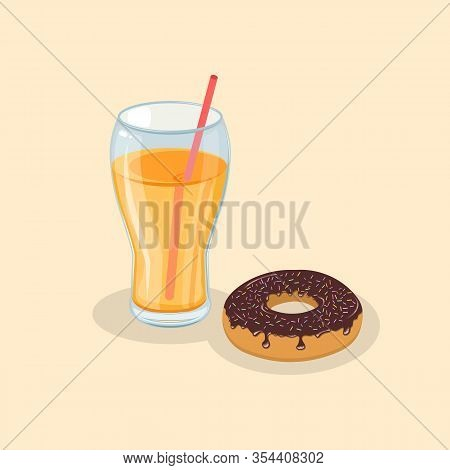 Glazed Donut And Fresh Orange Juice - Cute Cartoon Colored Picture. Graphic Design Elements For Menu