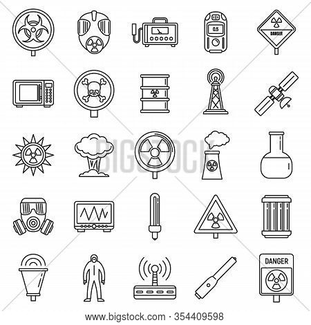 Toxic Radiation Icons Set. Outline Set Of Toxic Radiation Vector Icons For Web Design Isolated On Wh