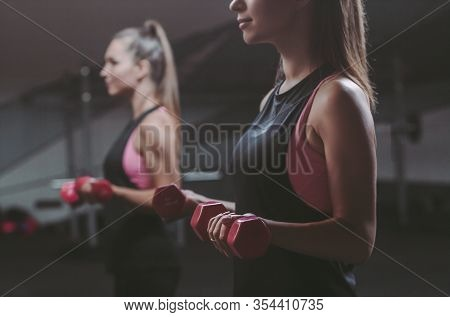 Closeup Beautiful Sports Woman Lifting Up Dumbbells In Hands While Standing Against Her Reflection I