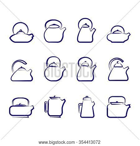 Vector Image Of Unusual Teapots For Making Tea And Decoctions Of Herbs