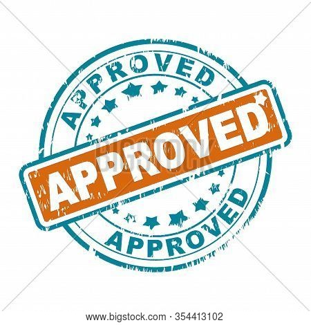 Scratched Round Rubber Stamp With The Word Approved