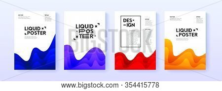 Dynamic Posters Set With Liquid Fluid Shapes. A4 Size Abstract Layered Gradient Background Illustrat