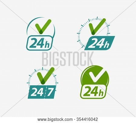 Open 24 Hours Sign. 24h, Clock Icon Or Label Vector Illustration