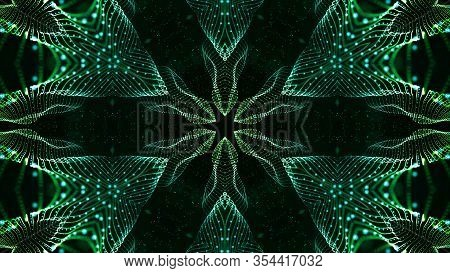 Green Motion Design Background With Symmetrical Star Pattern. Abstract Sci-fi Background With Glow P