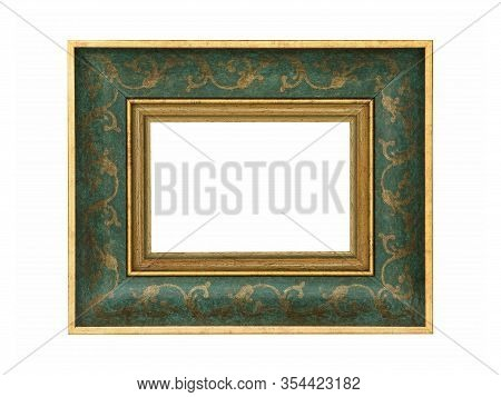 Empty Green Wooden Frame For Paintings With Gold Patina. Isolated On White Background