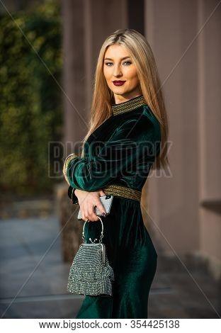 Perfect Female. Glam Clutch Accessory. Elegant Woman In Green Velour Dress. Glamour Velvet Textile.
