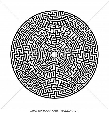 Difficult Circle Maze. Hard Round Vector Labirinth. Vector Black Circle Maze On White Background. Ed