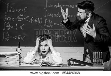 Bad News. Angry Teacher Shout At Student In Lesson. Bearded Man With Open Mouth On Angry Face. Hipst