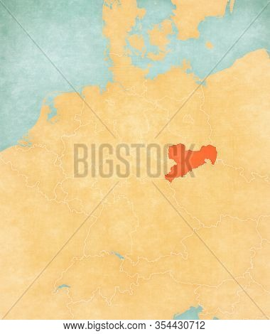 Saxony On The Map Of Germany In Soft Grunge And Vintage Style, Like Old Paper With Watercolor Painti