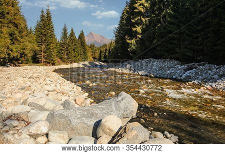 Forest River Bela With Small Round Stones And Coniferous Trees On Both Sides, Sun Shines To Mount Kr