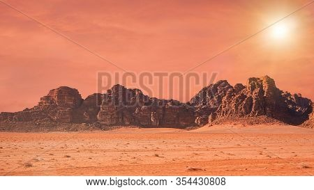 Planet Mars Like Landscape - Photo Of Wadi Rum Desert In Jordan With Red Colour Filter And Added Sun