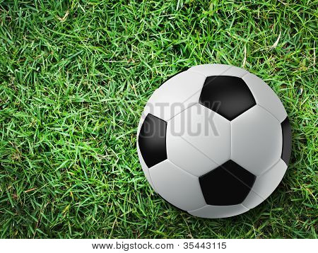 Soccer Ball On Grass Floor