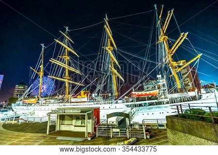 Yokohama, Japan - April 21, 2017: Four-masted Sailing Ship Called Nippon-maru Permanently Anchored O