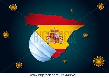 Coronavirus Or Corona Virus Concept For Spain. Spain In A Medical Mask Protects Itself From Ncov. Vi